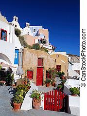 thira, sziget, görögország, -, oia, (santorini, falu, ...