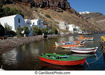 thirassia, ilha, grécia, vila