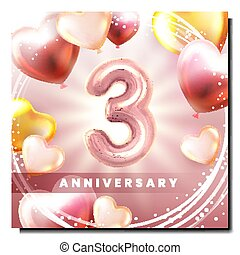 Third 3 Anniversary Creative Promo Poster Vector. Inflatable...