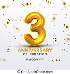 Third Anniversary Birth Celebration Number Vector
