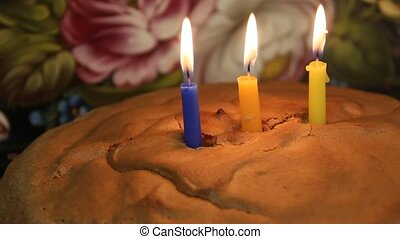 Third birthday cake. Three candles