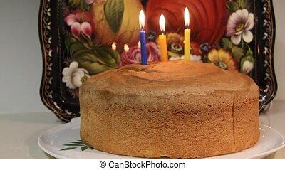 Third birthday cake. Three candles