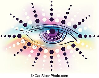 Illustration of an Eye with Circle Rays and Rainbow Colors as a Third Eye Concept