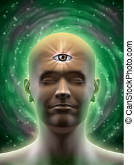 Third eye - Male head with an open third eye in the middle...