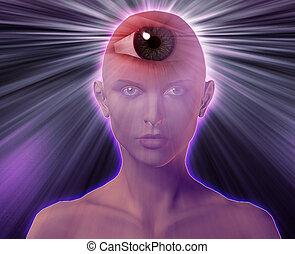 Third eye woman - Woman with third eye, psychic supernatural...