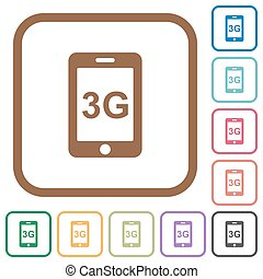 Third gereration mobile network simple icons