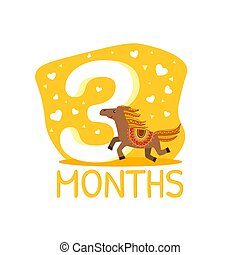 Third Month Birthday Anniversary Number and Cute Ethnic ...