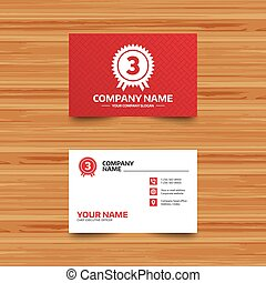 Third place award sign icon. Prize for winner. - Business...