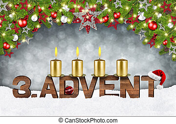 third sunday of advent concept xmas background with candles ball bauble stars and red silver decorated fir branches