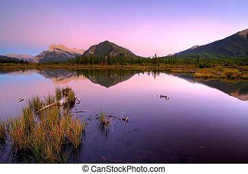 Third Vermillion Lake, Mount Rundle and Sulfur Mountain after sunset over the Third Vermillion Lake