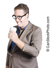 Thirsty businessman with coffee cup. Caffeine high