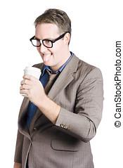 Thirsty businessman with coffee cup. Caffeine high