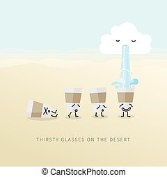 Thirsty Glasses on the Desert