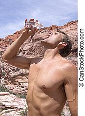 Thirsty hiker in desert