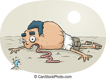Thirsty Man - A cartoon man lying on the ground in a desert ...