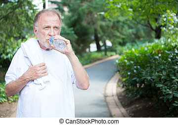 Thirsty - Closeup portrait, thirsty senior mature man in...
