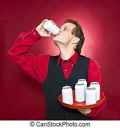 Thirsty waiter