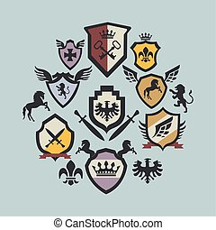 thirteen coats of arms