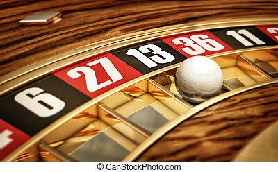 thirteen - high resolution 3D rendering of a roulette