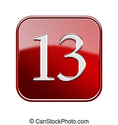 Thirteen icon red glossy, isolated on white background