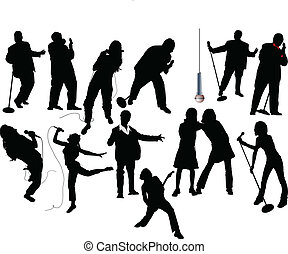 Thirteen singer silhouettes. Vector illustration