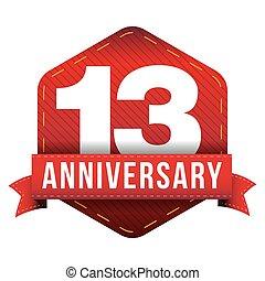 Thirteen year anniversary badge with red ribbon
