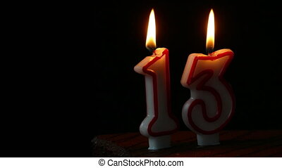 Thirteenth Birthday cake with candles
