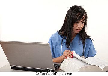 thirties, trabalhador, fêmea asiática, cuidados de saúde, atraente