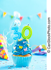 Thirtieth 30th birthday cupcake with candle blow out.Card mockup.