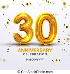 Thirtieth Anniversary Celebration Number Vector