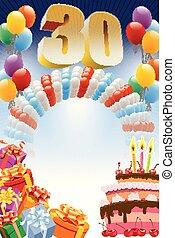 thirtieth, cumpleaños, cartel