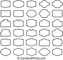 Thirty blank labels - Thirty black vector labels (you can ...