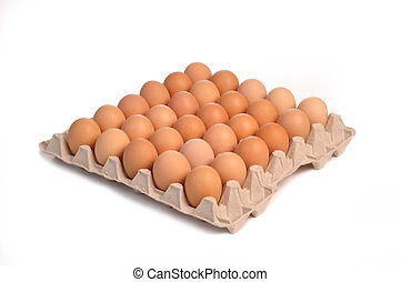 thirty eggs isolated on a white background