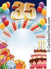 thirty-fifth, cumpleaños, cartel