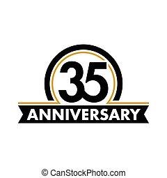 thirty-fifth, vettore, compleanno, insolito, 35th, simbolo., jubilee., circle., anniversario, arco, logo., 35, label., astratto, anni