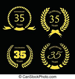 Thirty five years anniversary laurel gold wreath set
