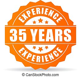 Thirty-five years experience vector icon isolated on white...