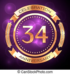 Thirty four years anniversary celebration with golden ring and ribbon on purple background.
