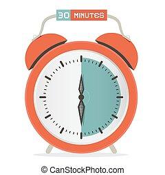 Thirty Minutes Stop Watch - Alarm Clock Vector Illustration