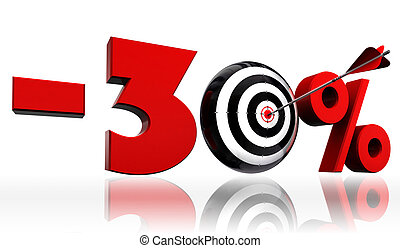 thirty per cent 30% red discount symbol with conceptual target