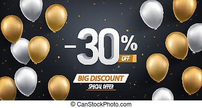 Thirty percent discount. Gold and white balloons with confetti on black background.