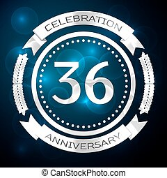 Thirty six years anniversary celebration with silver ring and ribbon on blue background. Vector illustration