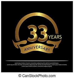 Thirty three years anniversary golden. anniversary template design for web, game ,Creative poster, booklet, leaflet, flyer, magazine, invitation card - Vector