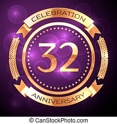 Thirty two years anniversary celebration with golden ring and ribbon on purple background.