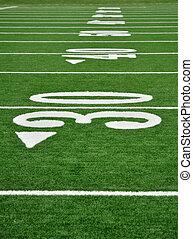 Thirty Yard Line on American Football Field - 30, 40, & 50...
