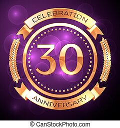Thirty years anniversary celebration with golden ring and ribbon on purple background.