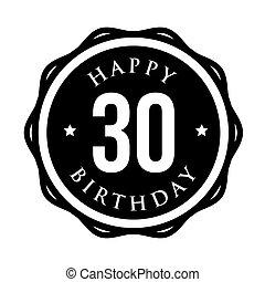 Thirty years happy birthday badge ribbon