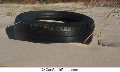 car tire is thrown on coastal dunes by sea surf - This car...