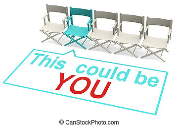 This could be you concept with row of chairs, 3D rendering