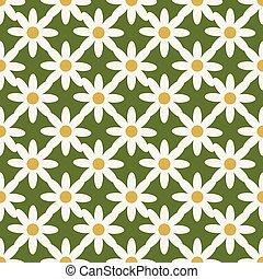 Cream and Green Geometric Daisy Seamless Pattern